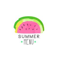 Summer menu logo label with watermelon vector