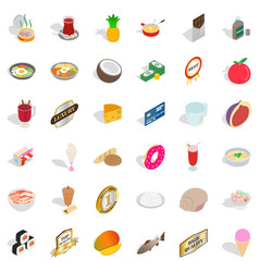 Tasty nourishment icons set isometric style vector