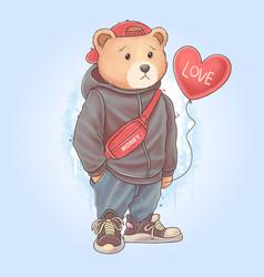 teddy bear carrying love heart balloon vector image