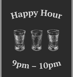 three kinds of alcoholic drinks in shot glasses vector image