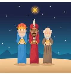 Three wise men cartoon with gift design vector