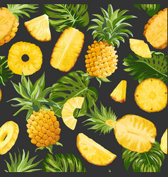 tropical pineapple palm leaves background vector image