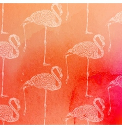 Vintage of pink flamingos pattern on the vector