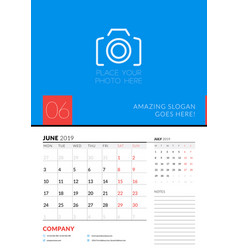 Wall calendar planner template for june 2019 week vector
