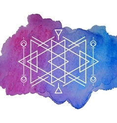 Watercolor and Geometry Background vector image