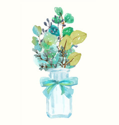 watercolor green plant bouquet and vintage bottle vector image