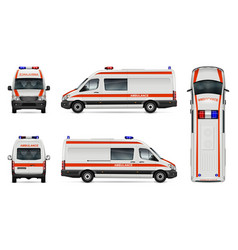 White ambulance car template vector