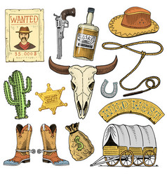 wild west rodeo show cowboy or indians with vector image