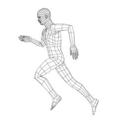 wireframe running man vector image