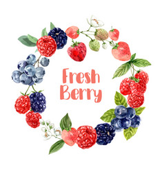 Wreath design with various mixberry fruits vector