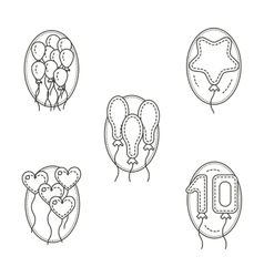 Different balloons flat line icons set vector image
