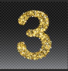 Gold glittering number three shining vector