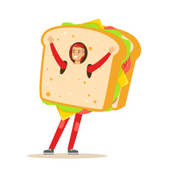 man wearing sandwich costume fast food snack vector image