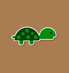 paper sticker on stylish background sea turtle vector image