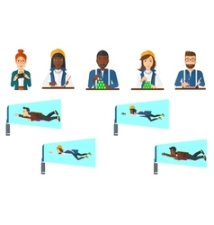 set of business character and people gaming vector image