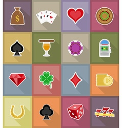 casino flat icons 18 vector image vector image