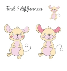 Find differences kids layout for game mouse vector image
