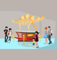 group people watching tyrannosaurus dinosaur vector image