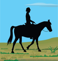 Horsewoman in nature vector image