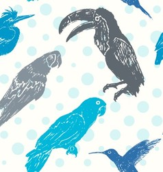 Ink hand drawn birds seamless pattern vector image vector image