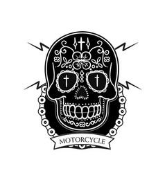 motorcycle modern skull background image vector image