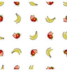 Seamless Pattern Strawberry Banana vector image vector image