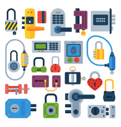 different house door lock icons set vector image vector image
