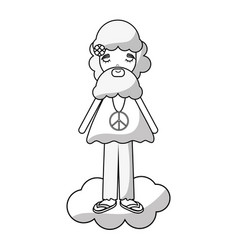 Figure man in cloud peace and love vector