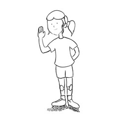 girl doodle draw vector image