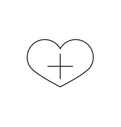 heart shape with plus sign linear icon add to vector image vector image