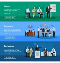 People having conference and meeting banners vector