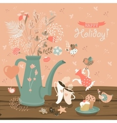 Still-life with a bouquet of flowers birds cups vector