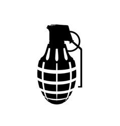 black silhouette of hand grenade army explosive vector image vector image
