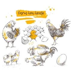 Set of farm chicken family vector image vector image