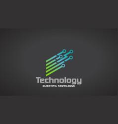 technology circuit stripes logo desigin vector image