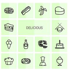 14 delicious icons vector