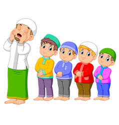 a boys are praying together with right posing vector image