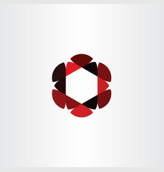 abstract icon red black business hexagon logo vector image