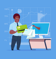 African american business man use computer online vector