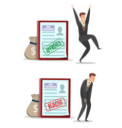 approved and rejected loan application forms with vector image