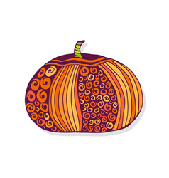 autumn pumpkin hand drawn sticker vector image