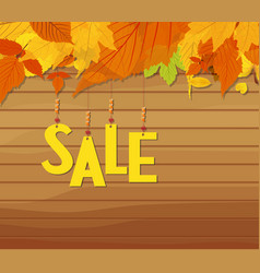 Autumn sale poster of discount with hanging sale vector