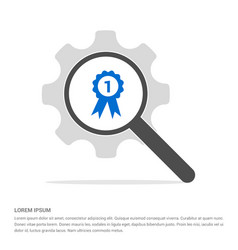 Award icon search glass with gear symbol icon vector