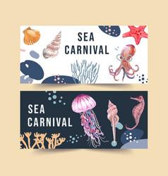Banner design with sea animal concept watercolor vector