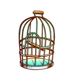 birdcage for domestic parrot monochrome vector image