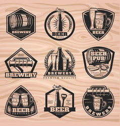 Black brewery labels set vector