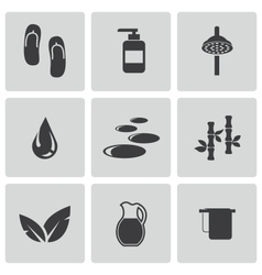black spa icons set vector image