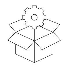 Box and gear design vector