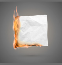 burning piece crumpled paper crumpled empty vector image