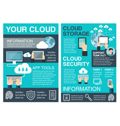 Business cloud computing flat poster design vector